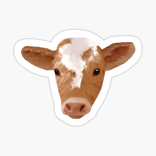 Painted Cute Cow Face Sticker