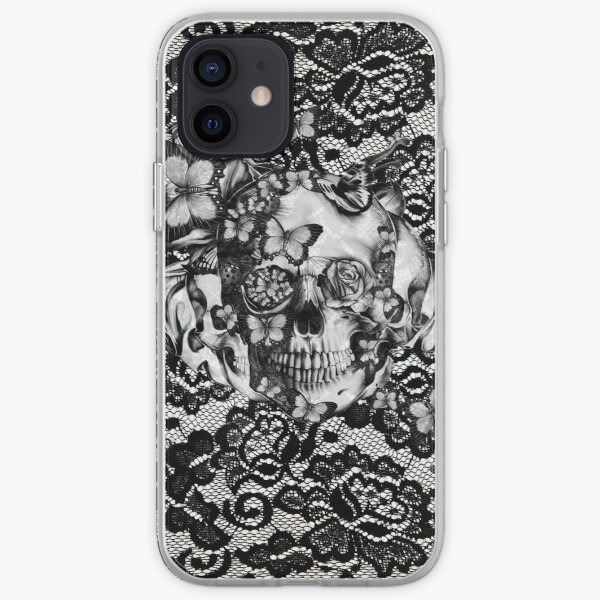 Butterfly lace skull pattern.  iPhone Soft Case