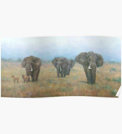 Kenyan Elephants Poster