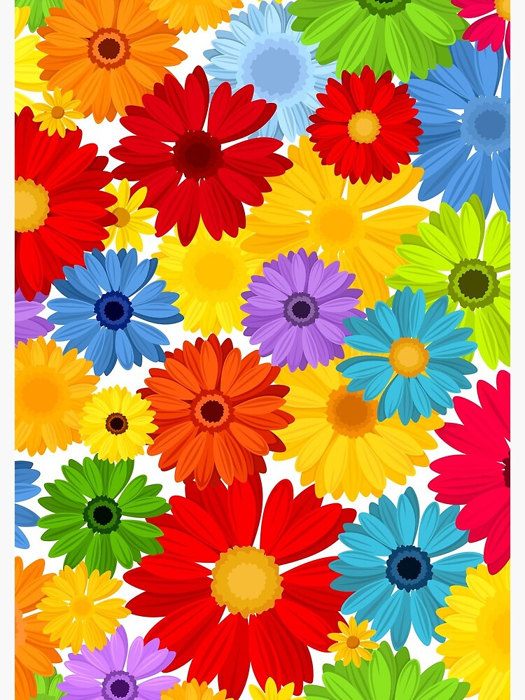 Floral pattern with bright colorful gerbera flowers. by Naddya
