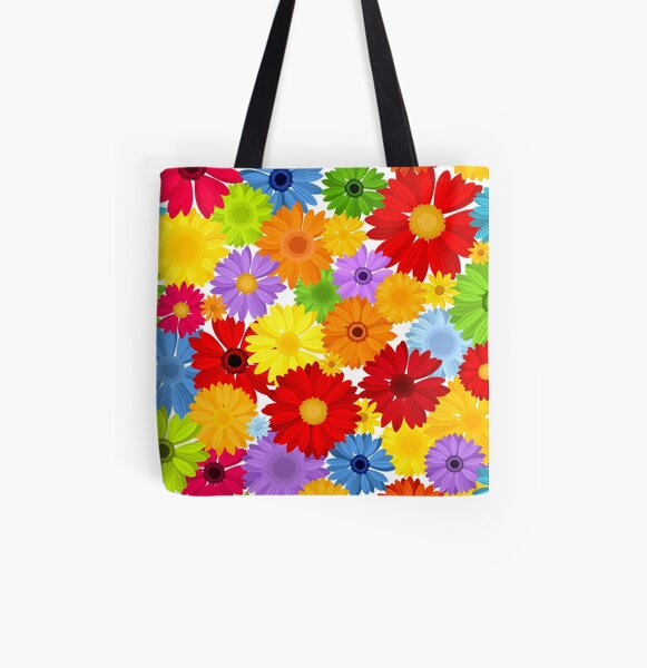 Floral pattern with bright colorful gerbera flowers. All Over Print Tote Bag