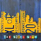Pittsburgh Skyline Silhouette Vintage Recycled License Plate Art by designturnpike