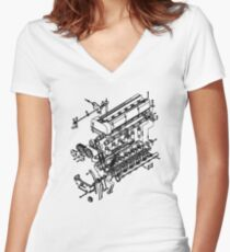TC24-B1 Exploded View Women's Fitted V-Neck T-Shirt