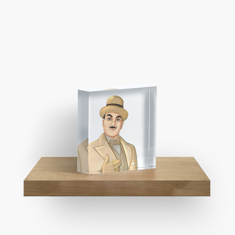 Inspector Hercule Poirot Famous Cozy Murder Mystery Sleuths and Detectives Acrylic Block