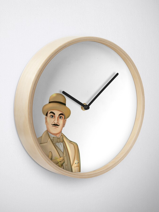 Alternate view of Inspector Hercule Poirot Famous Cozy Murder Mystery Sleuths and Detectives Clock