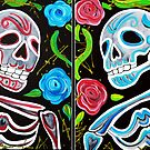 Red and Blue Skulls and Roses  by Laura Barbosa