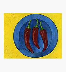 Three Red Chillis on a Blue Plate Photographic Print