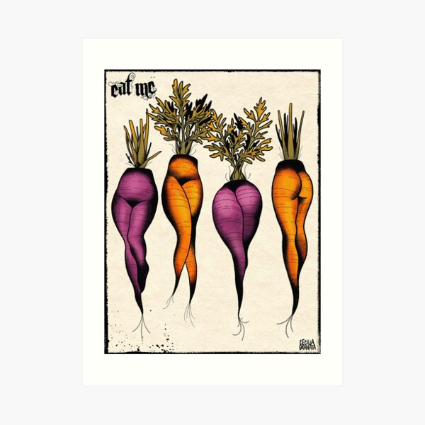 Sexy carrots botanical chart tattoo flash Art Print