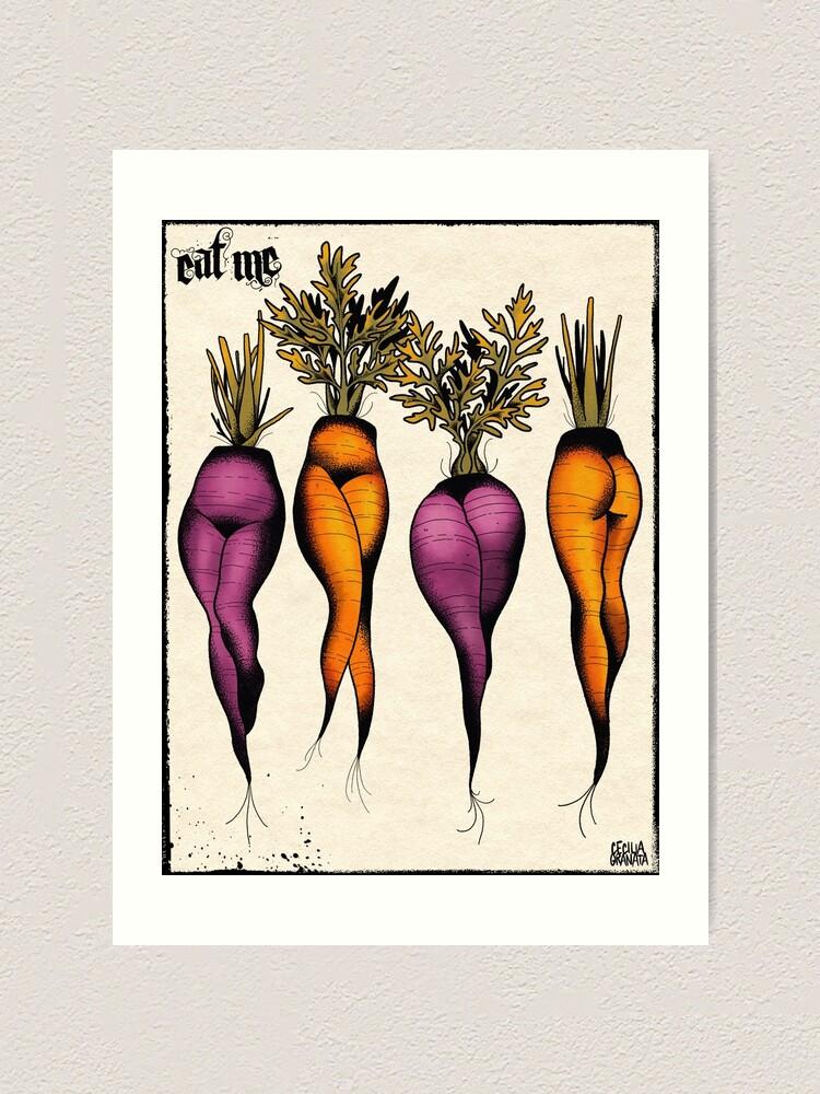 Alternate view of Sexy carrots botanical chart tattoo flash Art Print