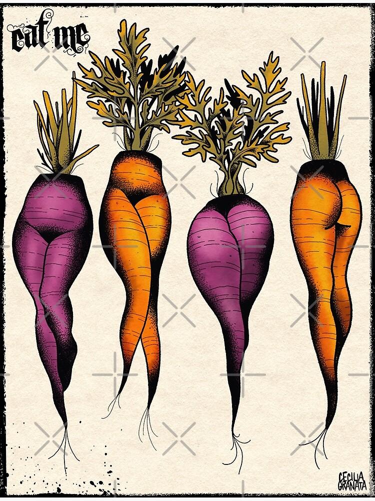 Sexy carrots botanical chart tattoo flash by ceciliagranata