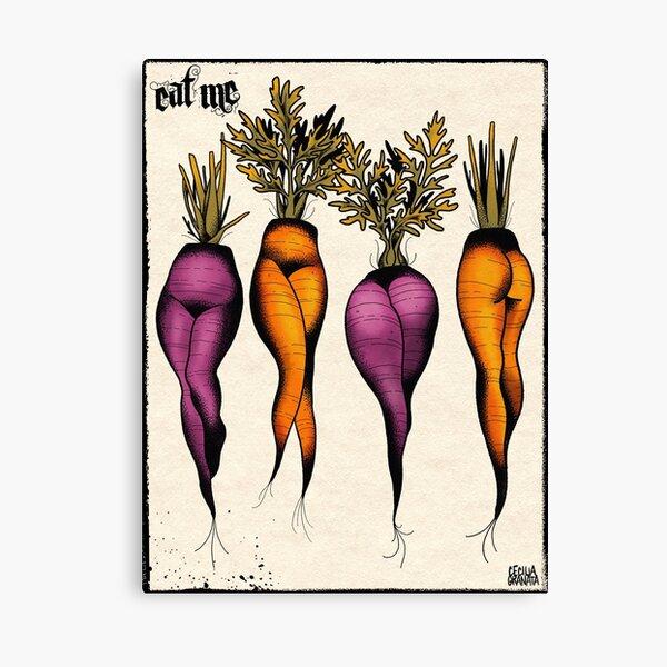 Sexy carrots botanical chart tattoo flash Canvas Print