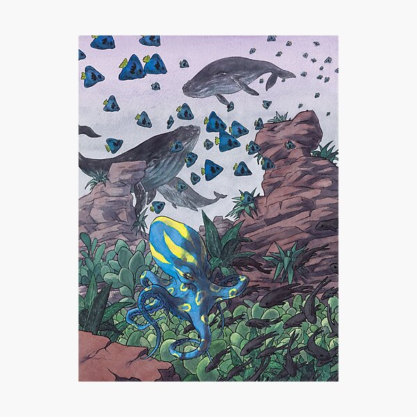 Busy underwater scene in watercolours Photographic Print