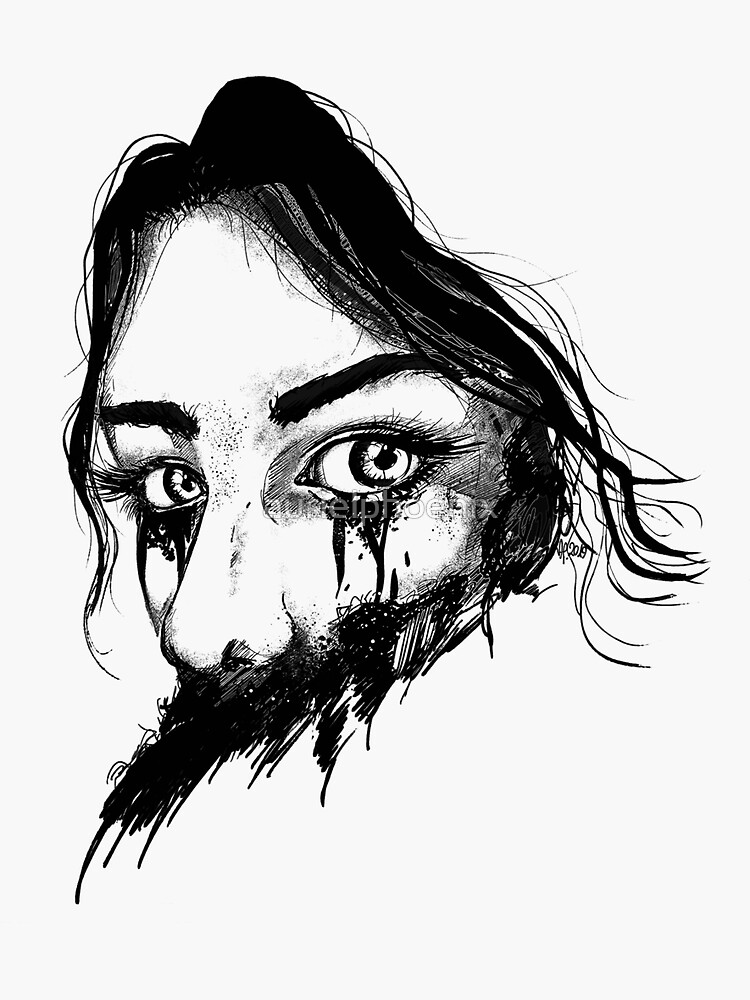 Black Ink Drawing of a Mysterious Girl by aurielphoenix
