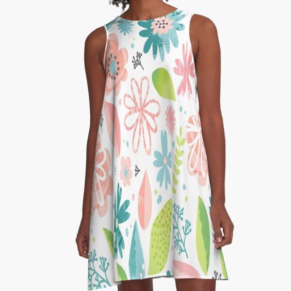 Pink and Teal Floral Pattern A-Line Dress