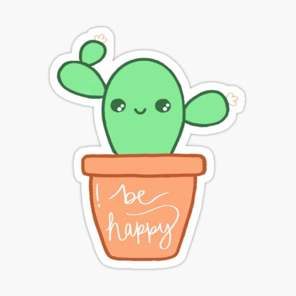 Be Happy Cactus Sticker
