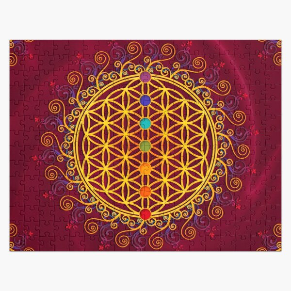 FLOWER OF LIFE, CHAKRAS, SPIRITUALITY, YOGA, ZEN,  Jigsaw Puzzle