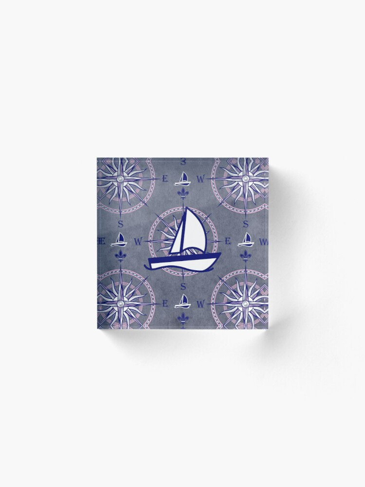 Alternate view of Sailboats and compasses Acrylic Block