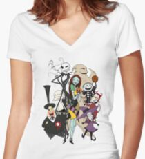the nightmare before christmas Women's Fitted V-Neck T-Shirt