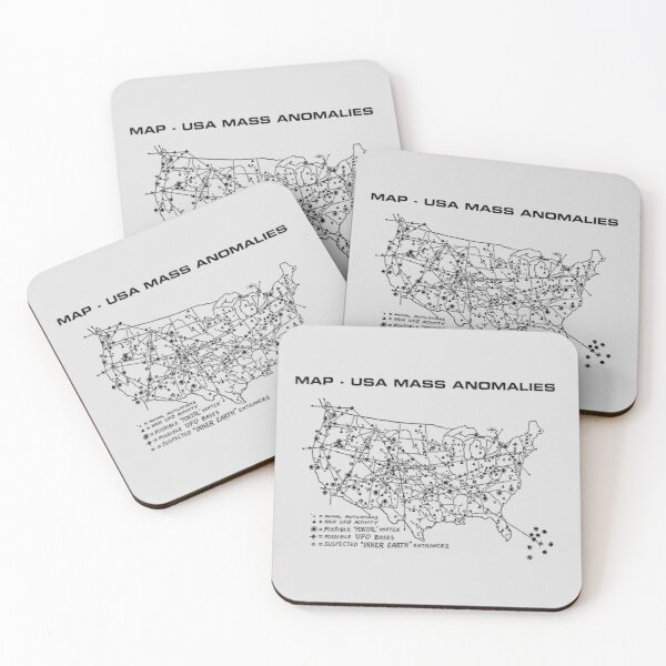 Map of USA Mass Anomalies Coasters (Set of 4)