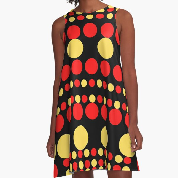 Multi Color Polka Dots - Red Yellow Black Background A-Line Dress