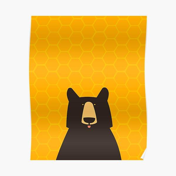 Black Bear Honeycomb Poster