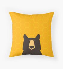 Black Bear Honeycomb Throw Pillow