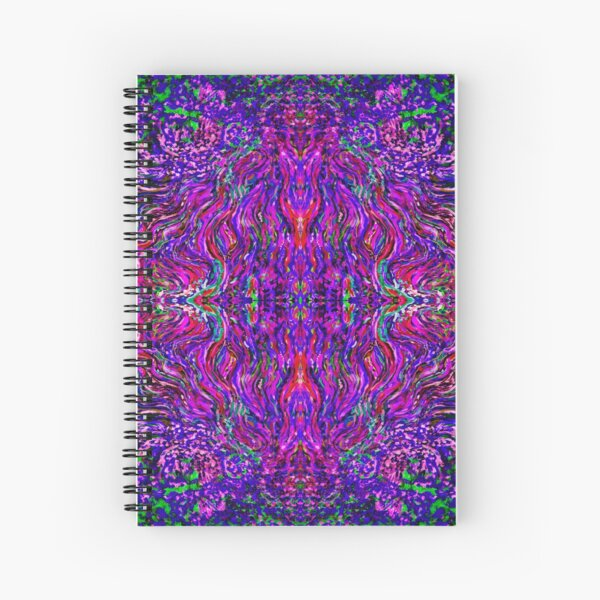 Fractal Pink Fire Spiral Notebook
