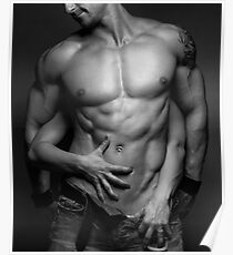 Woman hands touching muscular man's body art photo print Poster