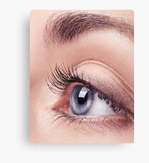 Closeup of woman blue eye art photo print Canvas Print