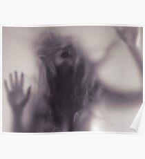 Dramatic photo of woman blurred silhouette behind hazy glass art photo print Poster