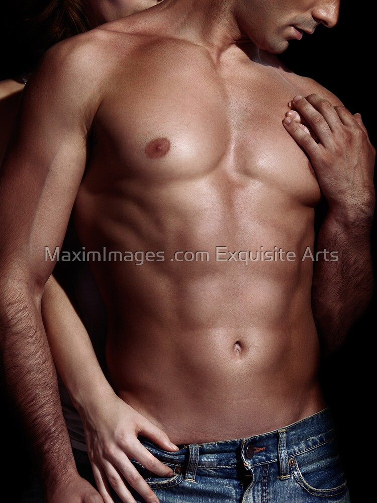 Sexy couple Woman behind man with sexy muscular bare torso art photo print by ArtNudePhotos