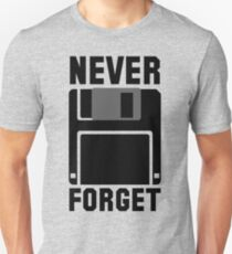 Floppy Disk Never Forget Slim Fit T-Shirt