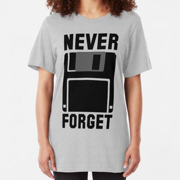 Floppy Disk Never Forget Slim Fit T-Shirt