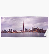 Toronto downtown skyline panoramic city scenery art photo print Poster
