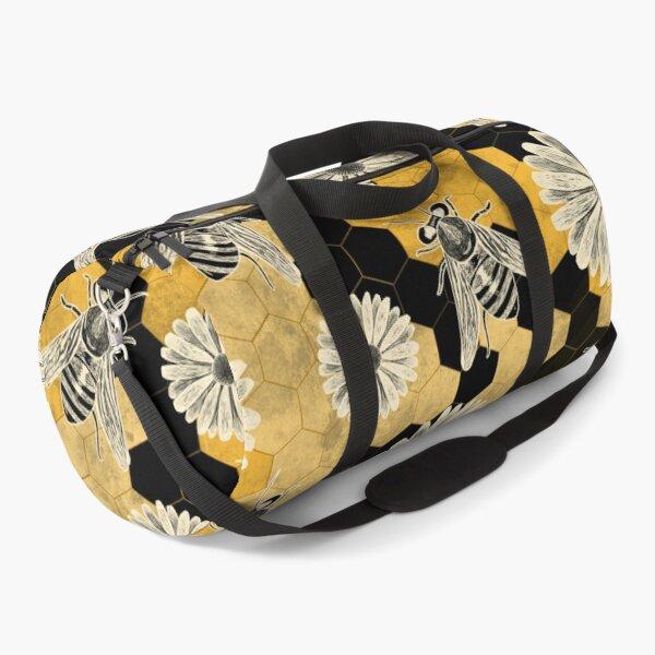 Golden Floral Bee Pattern Duffle Bag