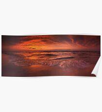 Colorful dramatic sunset over lake Huron panorama art photo print Poster