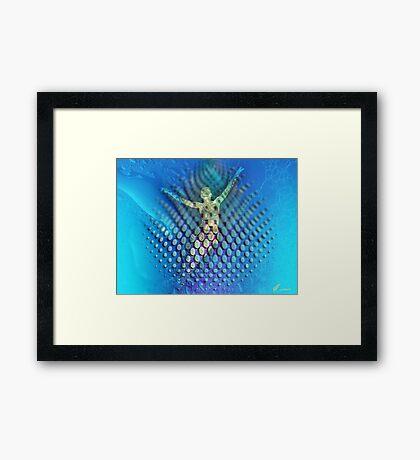 Floating in the blue  Framed Print