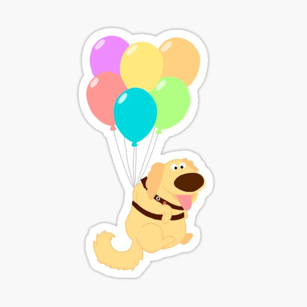 dug from up flying with balloons Sticker