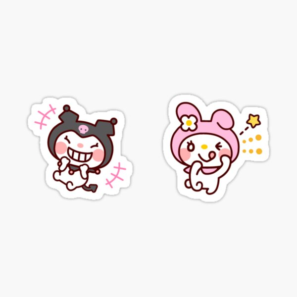 sweet pink cute nice bunny and emo black bunny alt goth MY MUSIC BUNNY KAWAII PINK JAPANESE LOLITA  Sticker