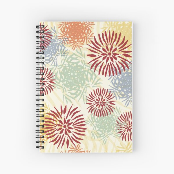 multicolor fantasy flowers based on a linocut  Spiral Notebook