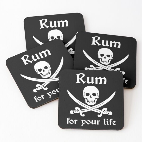 Rum for your Life Pirate and Swords Coasters (Set of 4)