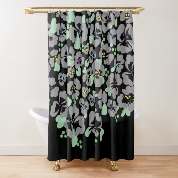 Simple Sweet Grey and Green on Black Shower Curtain