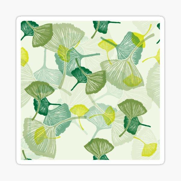 linocut gingko pattern in green Sticker