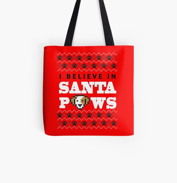 Navidad Santa Pet Cat Lindo Perro Paw Print Design bolsa saco de regalo de media roja secreto