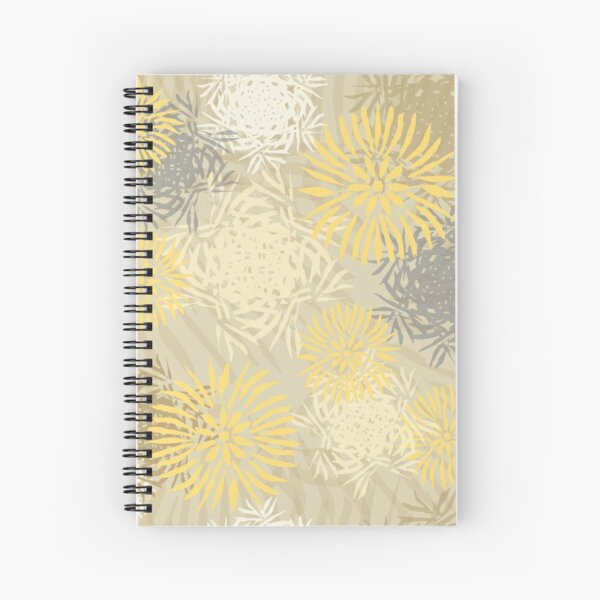 multicolor fantasy flowers based on a linocut yellow hues Spiral Notebook