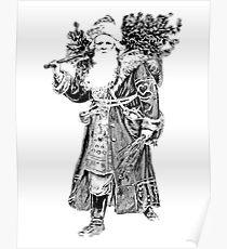 Victorian Santa Brings Christmas Presents and Christmas Trees in Christmas Long Ago. Poster