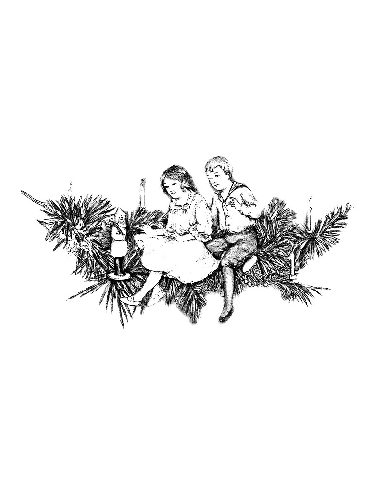 Victorian Children At Christmas Time Sitting On A Christmas Garland