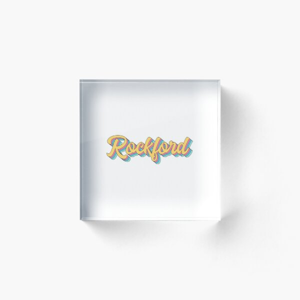 Rockford Retro Yellow Script Acrylic Block
