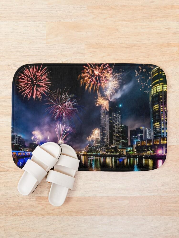 Alternate view of New Year Fireworks, Melbourne Australia Bath Mat
