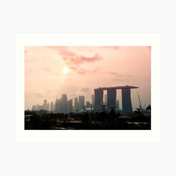 Approaching sunset over Marina Bay Sands - Singapore Art Print